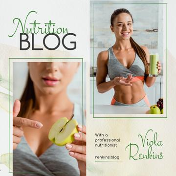 Nutrition Blog Promotion Fit Girl with Healthy Food | Instagram Ad Template