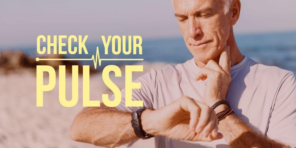 Check your pulse poster with senior man — Crear un diseño