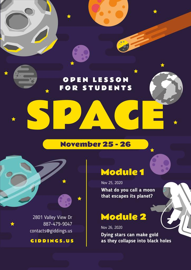 Space Lesson Announcement with Astronaut among Planets — ein Design erstellen