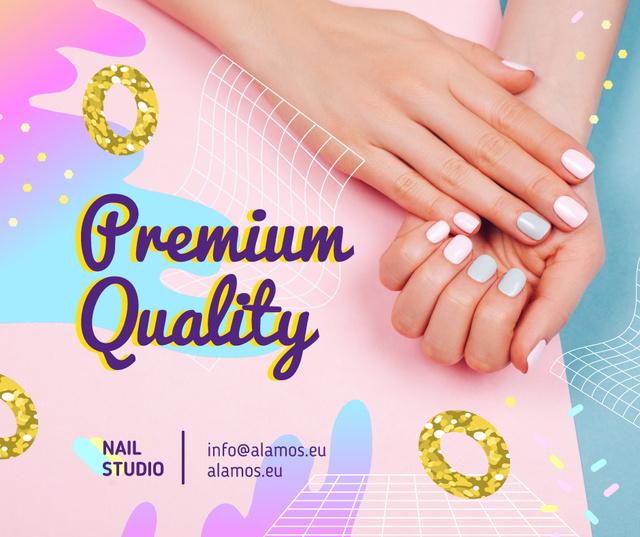 Hands with Pastel Nails in Manicure Salon Facebook Tasarım Şablonu