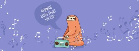 Plantilla de diseño de Sloth listening to music on radio Facebook Video cover