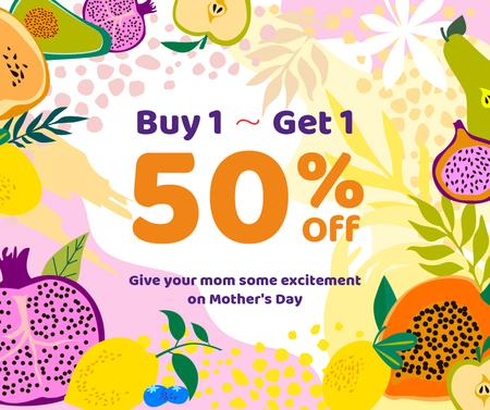 Template di design Mother's day with Raw fresh fruits sale Facebook