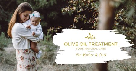 Ontwerpsjabloon van Facebook AD van Mother hugging baby outdoors