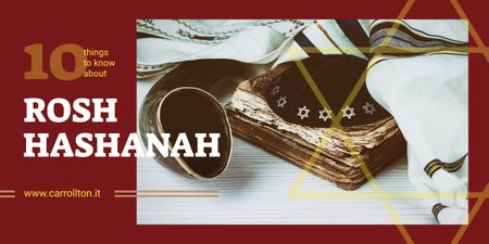 Rosh Hashanah Greeting Shofar and Torah Image Design Template