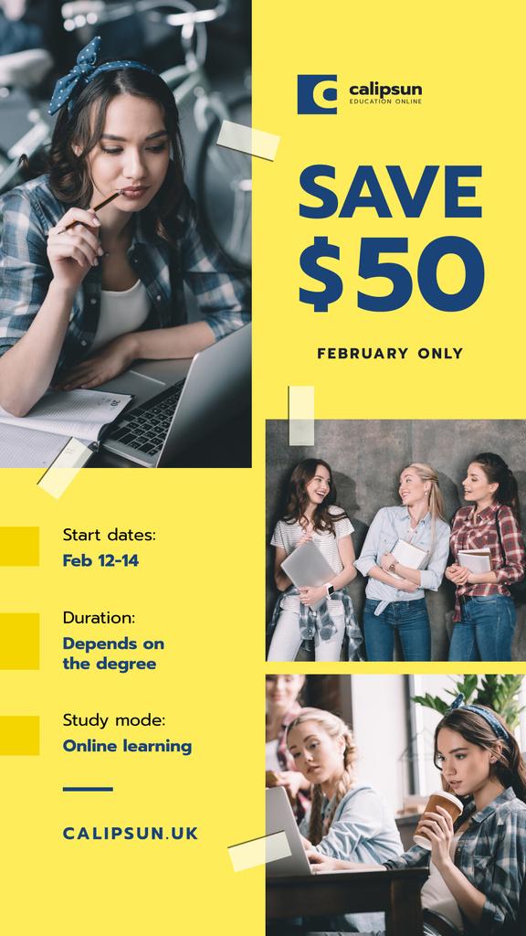 Online Courses Ad Girl by Laptops — Maak een ontwerp