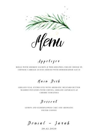 Plantilla de diseño de Wedding Meal list with leaf Menu