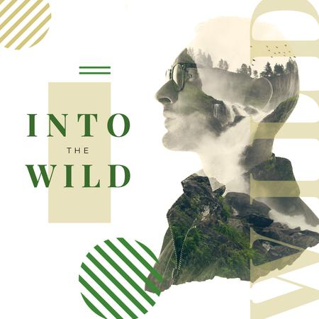 Double exposure of man and wild nature Instagram Modelo de Design