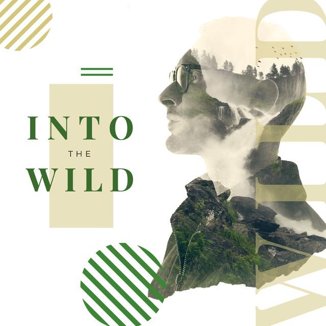 Double exposure of man and wild nature Instagram Modelo de Design