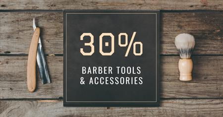 Modèle de visuel Barbershop Professional Tools Sale - Facebook AD