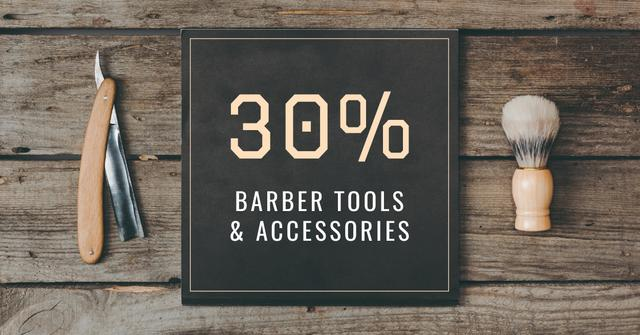 Barbershop Professional Tools Sale Facebook AD – шаблон для дизайна