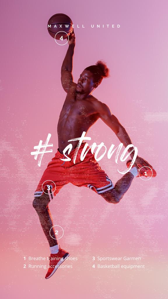 Sports Inspiration Basketball Player with Ball — Créer un visuel