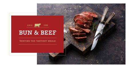 Template di design Grilled meat steaks Facebook AD