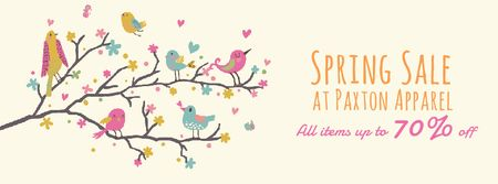 Spring Sale Birds signing on tree branch Facebook Video cover Modelo de Design