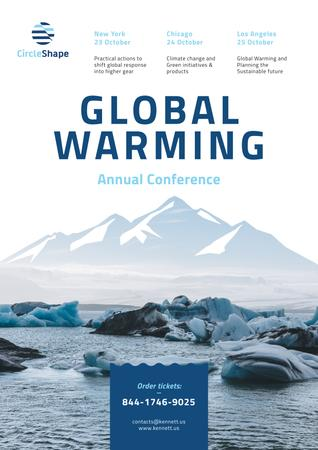 Global Warming Conference with Melting Ice in Sea Posterデザインテンプレート
