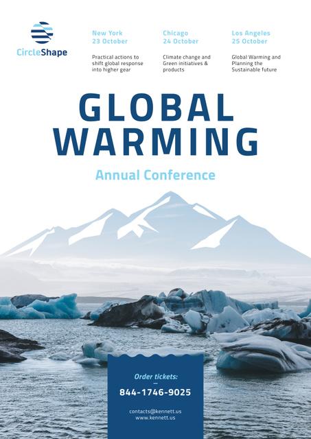 Plantilla de diseño de Global Warming Conference with Melting Ice in Sea Poster