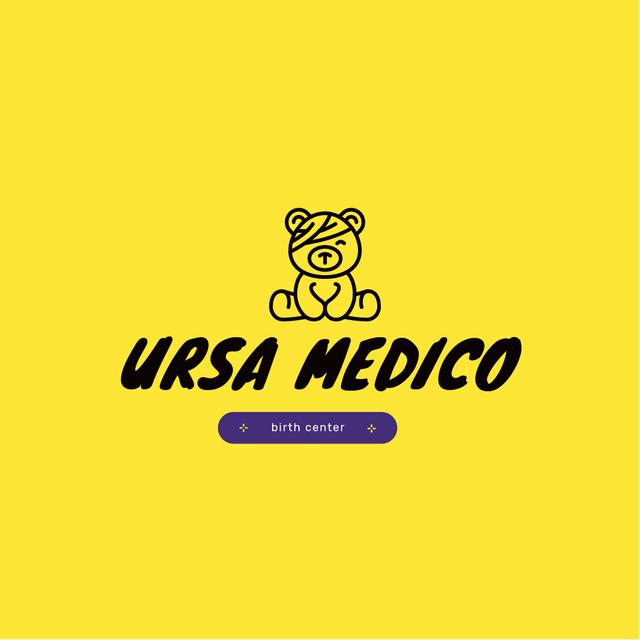 Birth Center Ad with Teddy Bear and Patch Logo – шаблон для дизайну