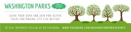 Plantilla de diseño de Events in Washington parks Announcement Twitter