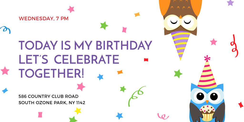 Birthday Invitation with Party Owls - Vytvořte návrh