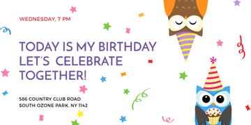 Birthday Invitation with Party Owls | Twitter Post Template