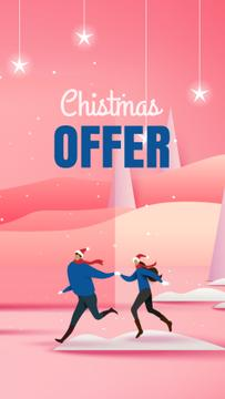People on winter field for Christmas offer