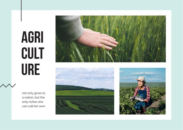 Plantilla de diseño de Farmer working in field Postcard