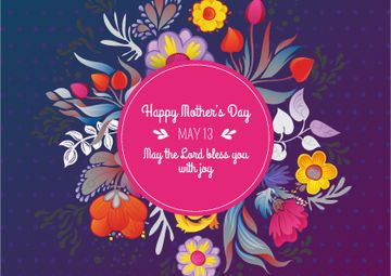 Mother's Day Greeting on Floral Circle