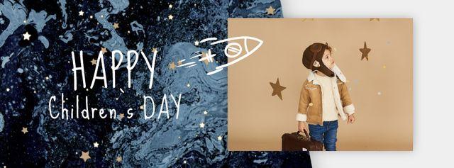 Plantilla de diseño de Kid pretending an aviator on Children's Day Facebook Video cover
