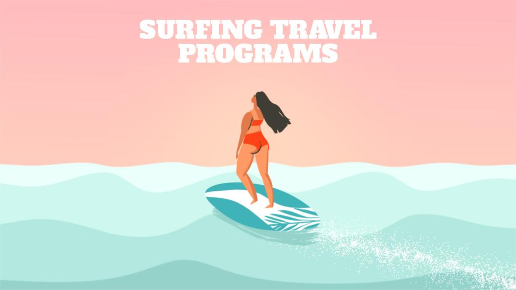 Woman surfing in sea — Crear un diseño
