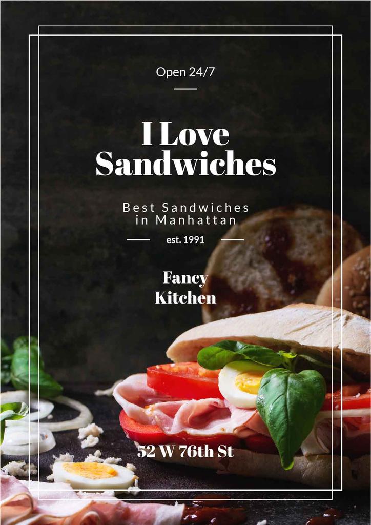 Restaurant Ad with Fresh Tasty Sandwiches — Créer un visuel