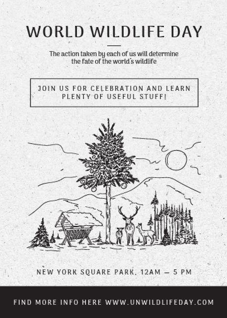 World Wildlife Day Event Announcement Nature Drawing Flayer – шаблон для дизайну