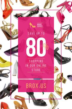 Female Shoes Store Sale in Pink | Pinterest Template
