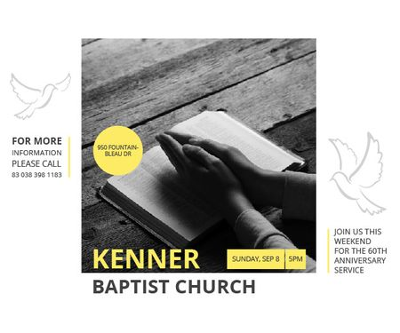 Plantilla de diseño de Kenner Baptist Church Medium Rectangle