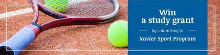 Ontwerpsjabloon van Twitter van Study Grant Ad with Tennis Racket