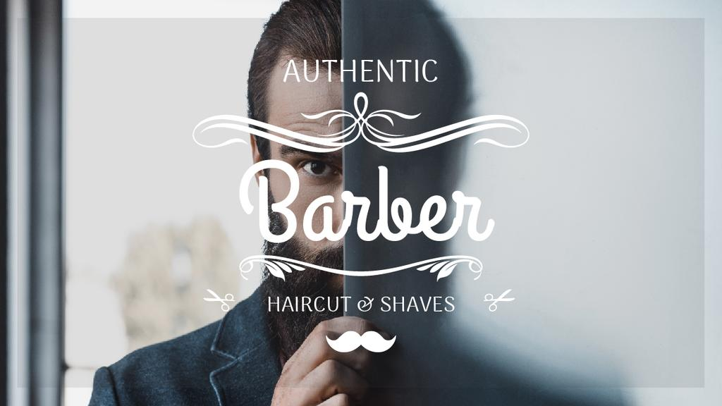 Barbershop Ad with Man with Beard and Mustache — Создать дизайн
