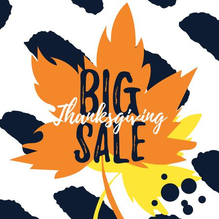 Thanksgiving sale on Maple autumn leaves Instagram AD – шаблон для дизайну