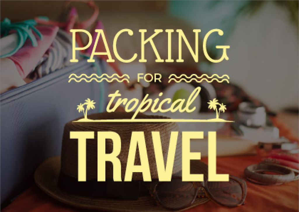 travel background with case and summer accessories — Crear un diseño