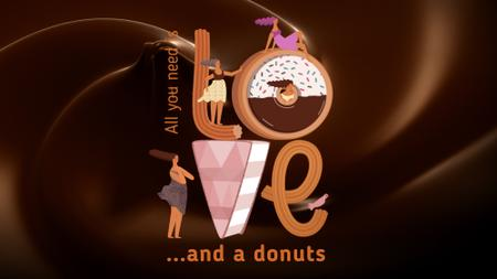 Girls loving doughnuts Full HD video Design Template