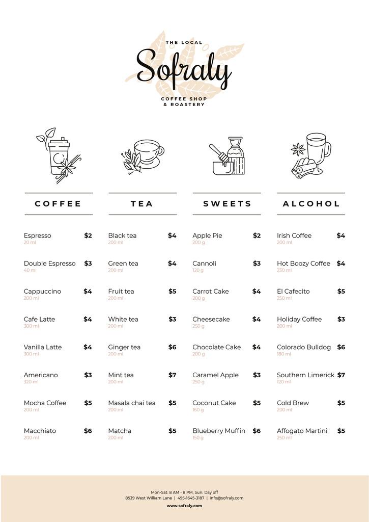 Coffee Shop drinks and sweets — Создать дизайн