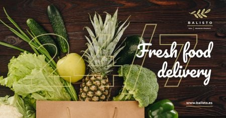 Plantilla de diseño de Food Delivery Groceries in Shopping Bag Facebook AD