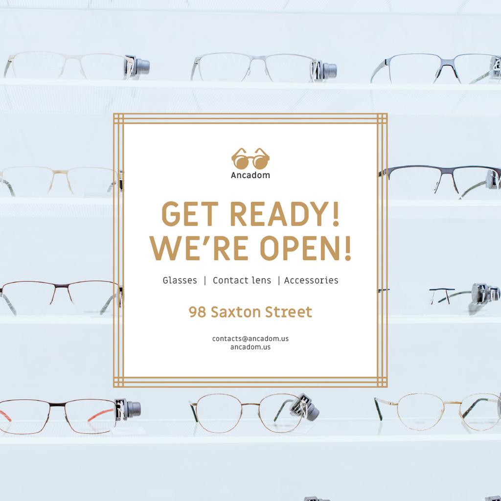 Optics Promotion Glasses in Rows on Blue - Bir Tasarım Oluşturun