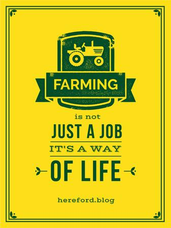 Agricultural Quote Tractor Icon in Yellow Poster US Modelo de Design