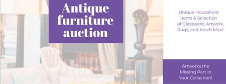 Antique Furniture Auction with Vintage Wooden Pieces Facebook cover Modelo de Design