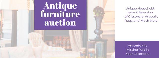 Szablon projektu Antique Furniture Auction with Vintage Wooden Pieces Facebook cover