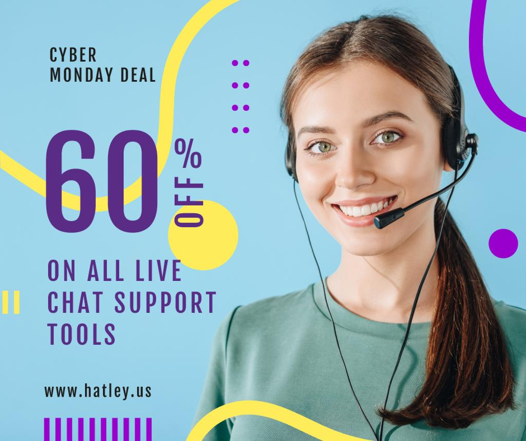 Cyber Monday Deal Support Worker in Headset | Facebook Post Template — Modelo de projeto