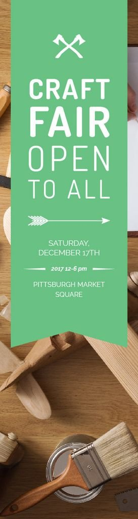 Craft Fair Announcement Wooden Toy and Tools Skyscraper Design Template