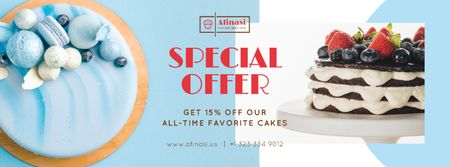 Designvorlage Bakery Offer Sweet Layered Cakes für Facebook cover