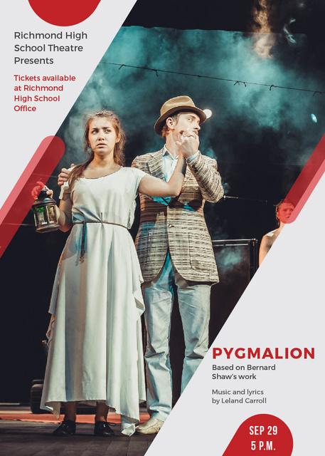 Designvorlage Theater Invitation Actors in Pygmalion Performance für Flayer