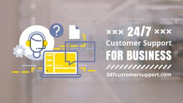 Customer Support Laptop Business Icon | Full Hd Video Template