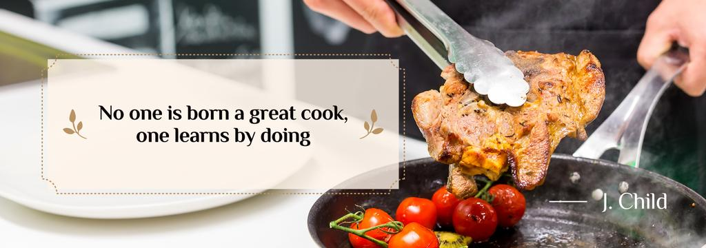 Cooking Tips Chef Frying Meat — Modelo de projeto