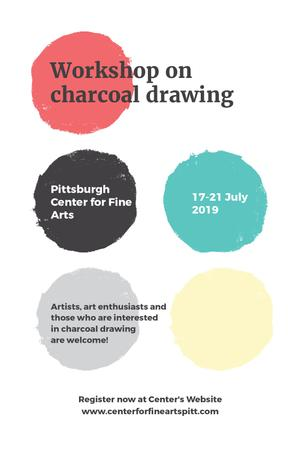 Charcoal Drawing Workshop colorful spots Tumblr Modelo de Design